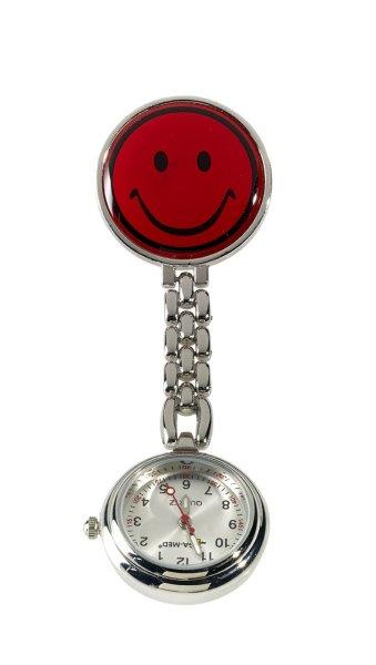 LEIBER Ansteckuhr 02/2545 Schwesternuhr Uhr mit Kette u. Clip Pulsuhr rot