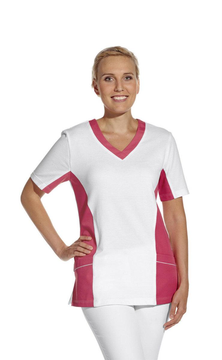 LEIBER Damen Pique Schlupfjacke 08/2531 Fb weiss dunkelrosa 1/2 Arm Pique Shirt  S