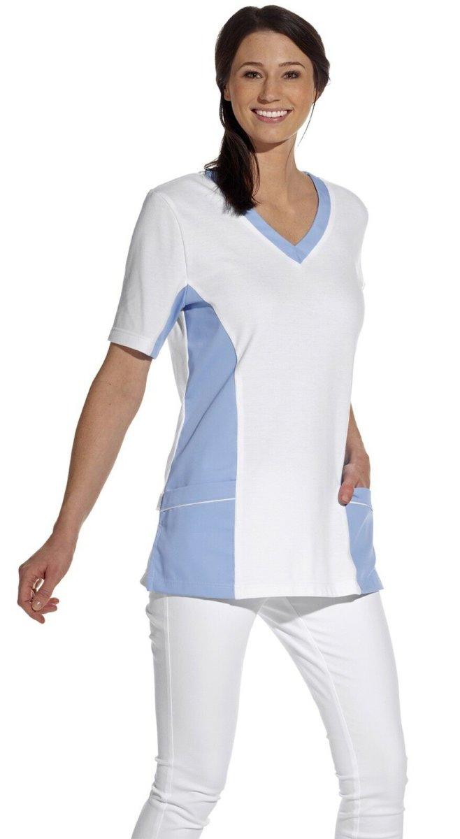 LEIBER Damen Pique Schlupfjacke 08/2531 Fb. weiss hellblau 1/2 Arm Pique Shirt  XL