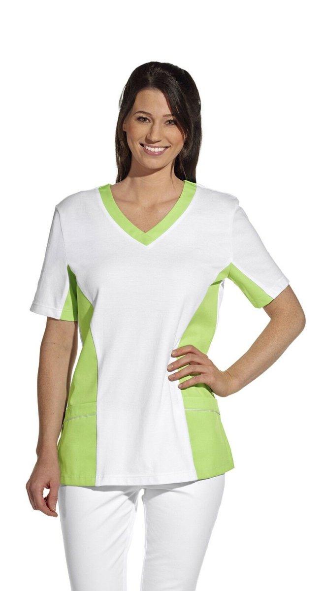 LEIBER Damen Pique Schlupfjacke 08/2531 Fb. weiss hellgrün  1/2 Arm Pique Shirt  2XL