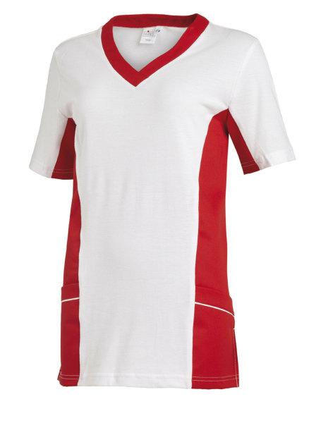 LEIBER Damen Pique Schlupfjacke 08/2531 Fb. weiss rot   1/2 Arm Pique Shirt  XL