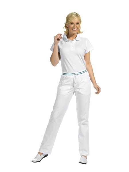 LEIBER Damenhose  08/6750  Damen Hose Strickbund weiß / petrol Schritt 80cm 40