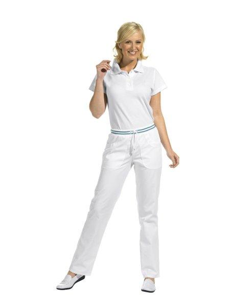 LEIBER Damenhose  08/6750  Damen Hose Strickbund weiß / petrol Schritt 80cm 46