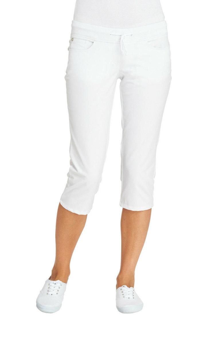 LEIBER Damenhose 08/6910  Five-Pocket Strickbund 3/4 Hose Fb. weiß Schritt 52cm