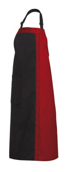 LEIBER Latzschürze  11/2522   100cm lang Schürze Umhängeschürze Küchenschürze  schwarz/rot (1002)
