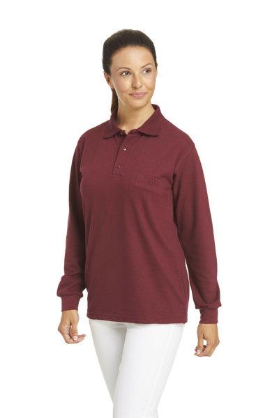 LEIBER Polo Pique Shirt  08/841  Poloshirt 1/1 Arm bordeaux Langarm unisex  XL