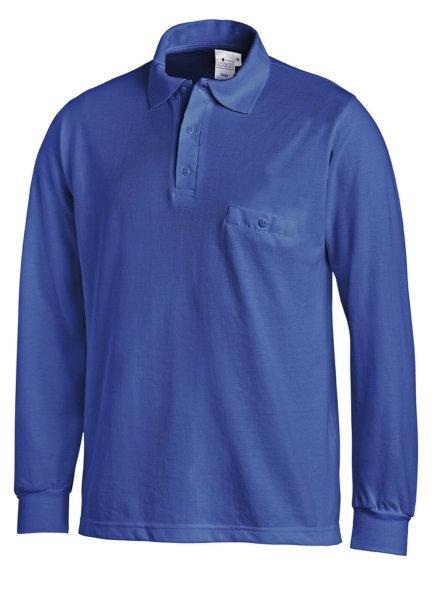 LEIBER Polo Pique Shirt  08/841  Poloshirt 1/1 Arm königsblau Langarm unisex  M