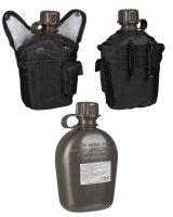 MIL-TEC Feldflasche 1ltr. Trinkflasche schwarz Army...