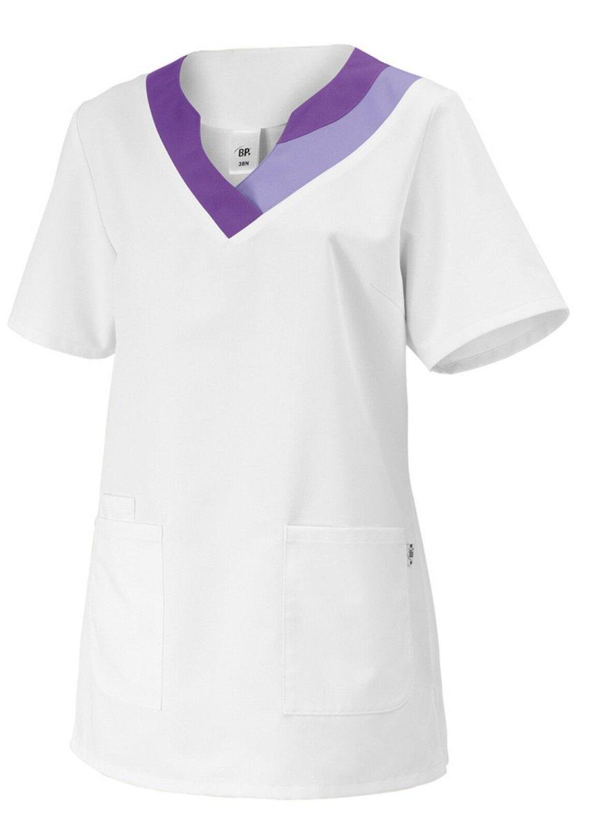 BP Schlupfkasack 1664 Damenkasack 1/2 Arm Kasack Schwesternkleidung weiß / lila 44