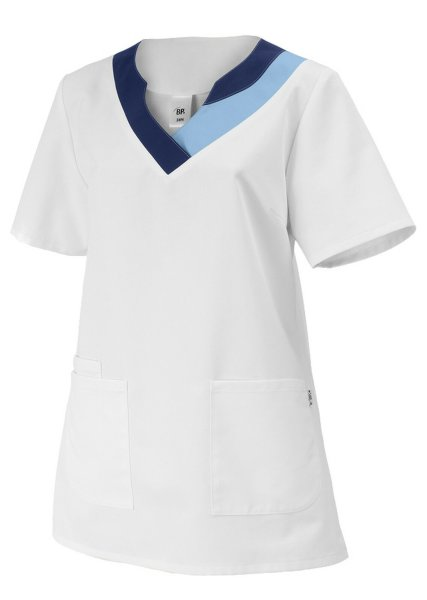 BP Schlupfkasack 1664 Damenkasack 1/2 Arm Kasack Schwesternkleidung weiß hellbl.