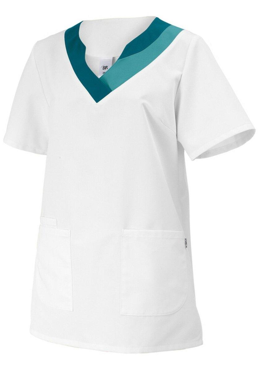 BP Schlupfkasack 1664 Damenkasack 1/2 Arm Kasack Schwesternkleidung weiß petrol 38