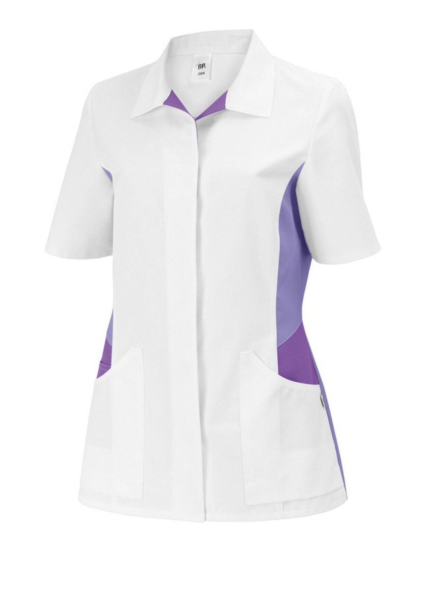 BP Schlupfkasack 1665 Damenkasack 1/2 Arm Kasack Schwesternkleidung weiß / lila 44