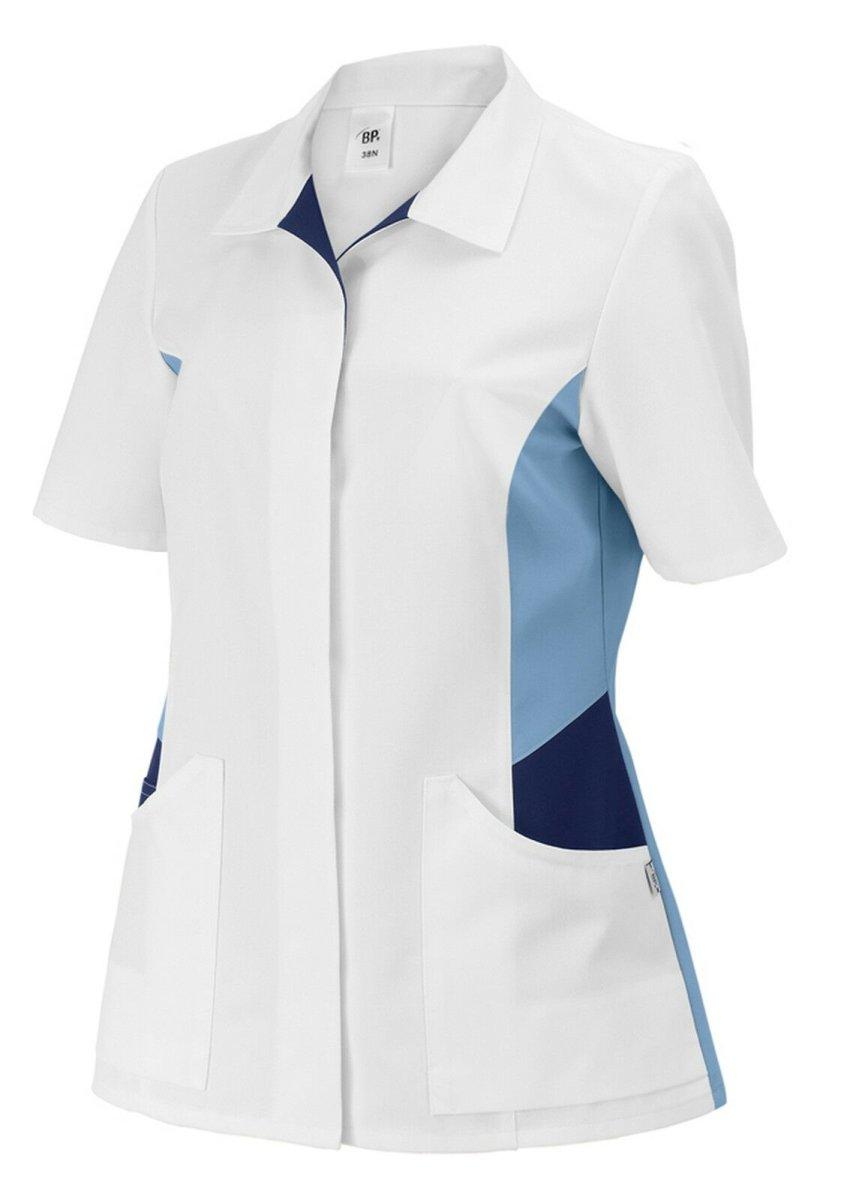 BP Schlupfkasack 1665 Damenkasack 1/2 Arm Kasack Schwesternkleidung weiß hellbl. 46
