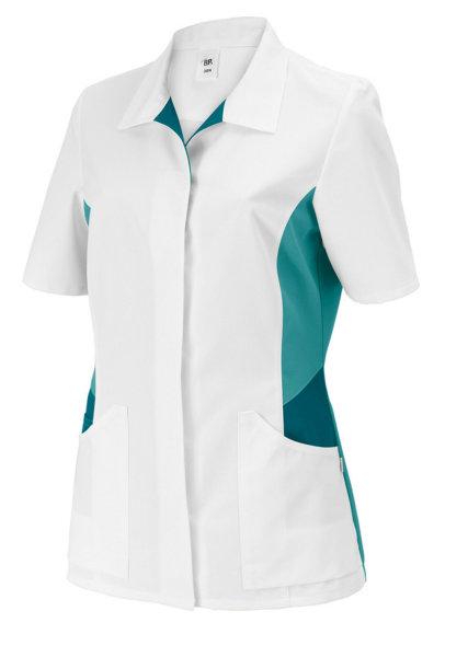 BP Schlupfkasack 1665 Damenkasack 1/2 Arm Kasack Schwesternkleidung weiß petrol
