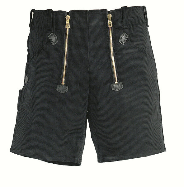 FHB Zunft-Shorts 20033 HANS Genuacord Feincord Zunfthose Sommerhose schwarz