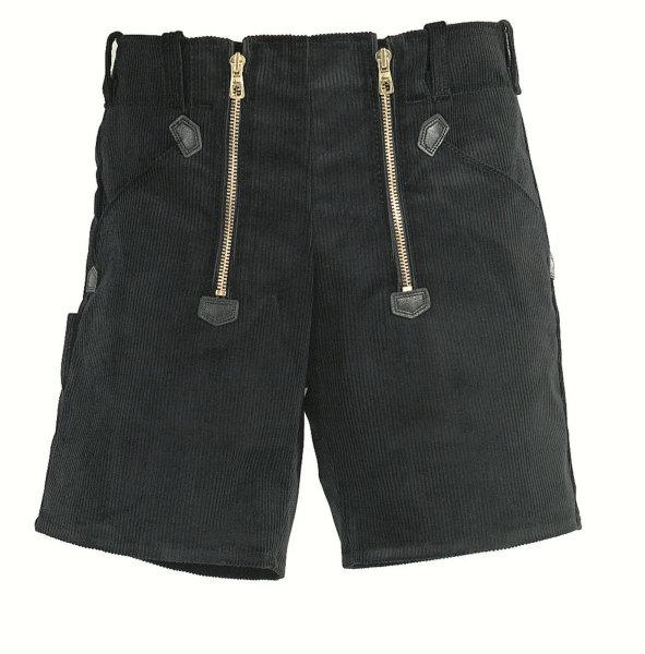 FHB Zunft-Shorts 20033 HANS Genuacord Feincord Zunfthose Sommerhose schwarz 048